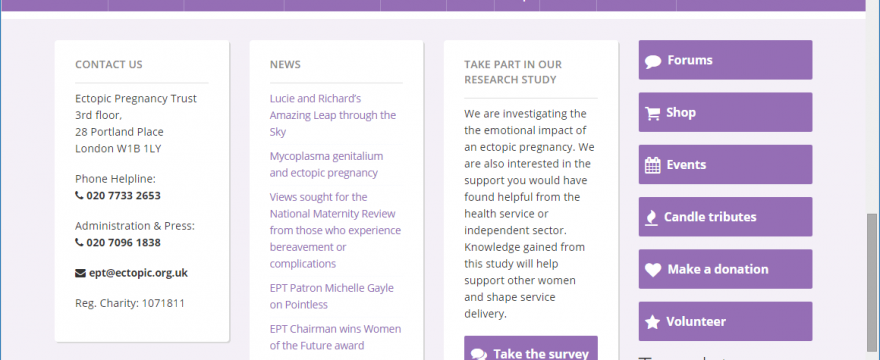 Ectopic Pregnancy Trust WordPress website and forums